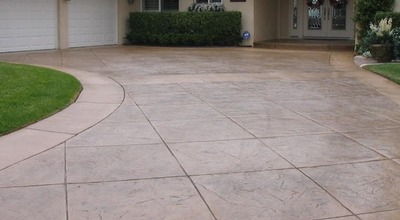 Fancy stamped concrete driveway.