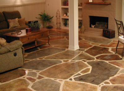Multi-colored interior floor polished and designed to resemble real stone.