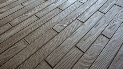 Wood plank design for interior or exterior concrete floor.