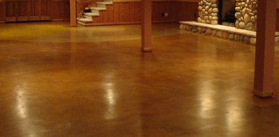 Acid stained and polished basement floor.