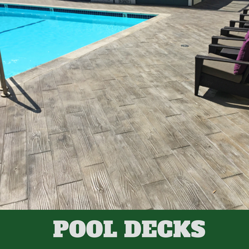 Picture of a pool with concrete stamped wood grain.