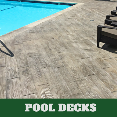 Franklin stamped concrete pool surround with a wood grain finish.